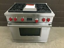 Wolf DF364G   36  PRO Dual Fuel Range Stove 4 Burners   Griddle Red Knobs