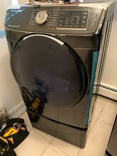 Samsung Black Stainless Electric Dryer and Pedestal DV50K7500EV Open box