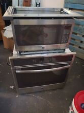 GE JT5000SFSS 30  Stainless Electric Single Wall Oven and PEB7226SF1SS microwave
