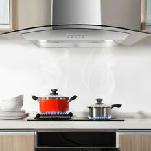30 Stainless Steel Wall Mount Kitchen Range Hood With LED Lights Tempered Glass