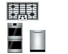 Bosch 500 Series Package Of Cooktop NGM5055UC  Double Oven HBL5651UC  SHPM65Z55N