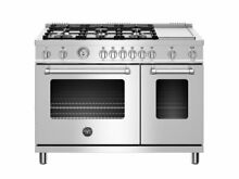 48 inch All Gas Range  6 Burner   Griddle Stainless Steel Bertazzoni MAST486GGAS