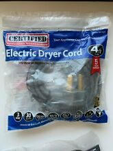 3 prong  3 wire  4ft Electric Dryer Cord  30 Amp  125 250 Volt