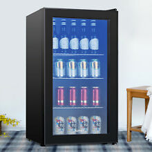 120 Can Mini Fridge Cooler 3 1 Cu Ft   Beverage Beer Soda Bar Glass Door Black