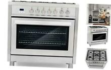 Cosmo F965 36 in  Dual Fuel Gas Range with 5 Sealed Burners  Convection Oven wit