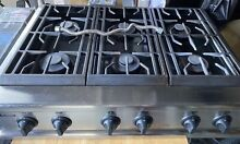 GE Monogram 36 Inch Pro Restaurant Style 6 Burner Gas Stainless Cooktop Stove