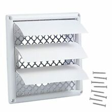 5 Inches Louvered Dryer Vent Cover Outdoor White Plastic Exterior Exhaust