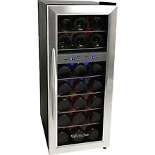 21Bottle Dual Zone Wine Cooler Refrigerator  Compact Stainless Steel Mini Fridge