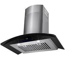 30  STAINLESS STEEL BLACK GLASS WALL MOUNT RANGE HOOD KITCHEN STOVE VENT
