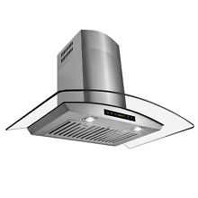 30  Wall Mount Stainless Steel Range Hood Stylish Stove Vent with Tempered Glass