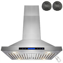30  Stainless Steel Island Range Hood Dual LED Remote w  Carbon Filter