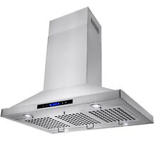 36  Stainless Steel Island Mount Range Hood Touch Screen Stove Kitchen
