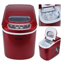 Portable Electric Ice Maker  Touch Button Display  Up to 26 Pounds per Day  Red
