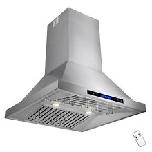 30  Stainless Steel Island Mount Range Hood Touch Screen Display Cooking