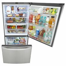 24 1 Cubic Foot Kenmore Elite Bottom Freezer Refrigerator  Stainless Steel