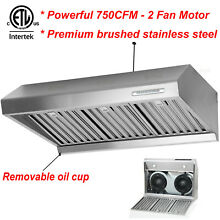Steel 36  Stainless Wall Mount CFM Kitchen Panel Range Hood Stove Vent Fan Led