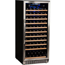 121 Bottle Built In Wine Refrigerator  Stainless Steel Silver Glass Door Cooler
