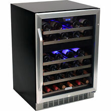 46 Bottle Stainless Steel Wine Refrigerator   Built In Wood Shelf Compact Cooler