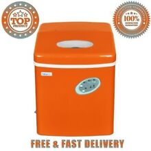 Newair Portable Ice Maker Orange With Push Button Controls Side Mounted Drain