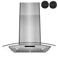 New 30  STAINLESS STEEL   GLASS   WALL MOUNT RANGE HOOD   CARBON FILTER