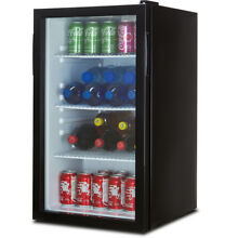 Beverage Wine Cooler Chiller Rack Mini Refrigerator LED Light Beer Soda  Black