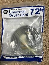 Universal Dryer Cord 3 Wire Prong 72   30 Amp 6 FT 125 250 JMF   NEW