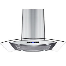 36  Island Mount Stainless Steel Tempered Glass Touch Panel Kitchen Range Hood