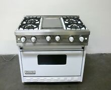 VIKING White 36  Natural Gas Pro Range VGIC365 4GWH w  4 Open Burners