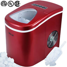 Portable Electric Ice Maker  High Capacity  Touch Button Display 2 Cube Sz  Red