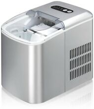 Portable Ice Maker Silver Small Compact Removable Basket Office Party Kitchen