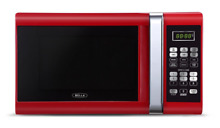 Bella 900 Watt Microwave Oven  0 9 Cubic Feet  Red with Chrome