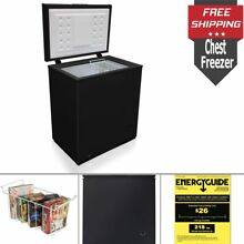 5 0 Cu Ft  Chest Deep Freezer Compact Food Storage Space Frozen Food With Basket