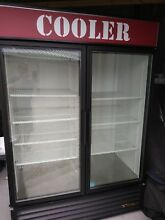 True gdm 49 LD double door reach in cooler glass merchandise display cooler