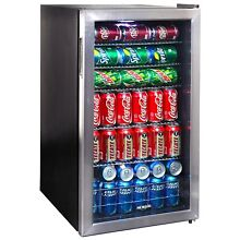 Black Beverage Chiller Unit Small Cooler 126 Can Bar Fridge Wine Beer Soda Drink