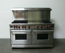 Wolf Stainless Steel 60  Natural Gas Range w  dual Griddle R606DG   Stained