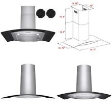 36 Kitchen Stove Vent Wall Mount Touch Panel Ductless Range Hood Led Push Button