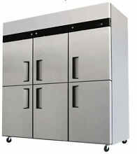 NEW  Commercial 6 Door Refrigerator   Freezer Combo Stainless Steel Merchandiser