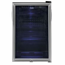 Haier Large Capacity 150 Can Stainless Steel Cooler and Compact Beverage Center