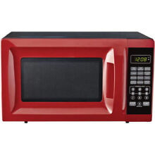 Mainstays 700W Output Microwave Oven 10 Power Levels Child Saftey Lock Red
