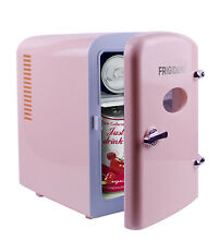 Pink Mini 6 Can Retro Beverage Fridge Dorm Office Bedroom Compact Refrigerator