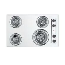 Summit Appliance 30 In Coil Electric Cooktop White 4 Burner Elements Porcelain