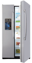 GE 36 Inch 25 Cu  Ft Side by Side Door Refrigerator in Stainless Steel Freezer