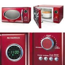 Nostalgia Rmo400Red Retro 0 9 Cubic Foot Microwave Oven Retro Red