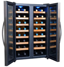 Dual Zone Wine Cooler 32 Bottle Side By Side Doors Wine Fridge Modern Design