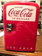 Coca Cola Mini Red Personal Refrigerator Hold 6 Cans Good For Desks