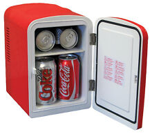 Coca Cola Personal 6 Can Mini Fridge Warming Red Retro 60s Style Bedroom Cooler