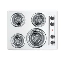 Summit Appliance 24 In Coil Electric Cooktop Porcelain Surface White 4 Elements