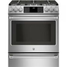 GE Cafe 30  Stainless Steel Slide In Dual Fuel Range