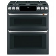 Cafe 30  Matte Black Slide In Double Oven Dual Fuel Range with Convection