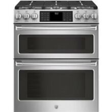 GE Cafe 30  Stainless Steel Slide In Double Oven Gas Range
